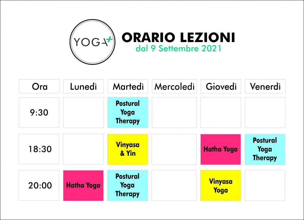 Orario delle lezioni Yoga Plus Pordenone